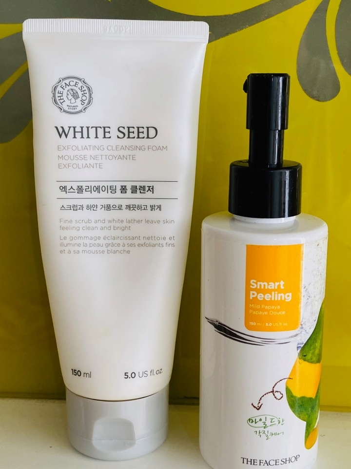 The Face Shop White seed Exfoliating cleansing foam & Smart peeling papaya douche